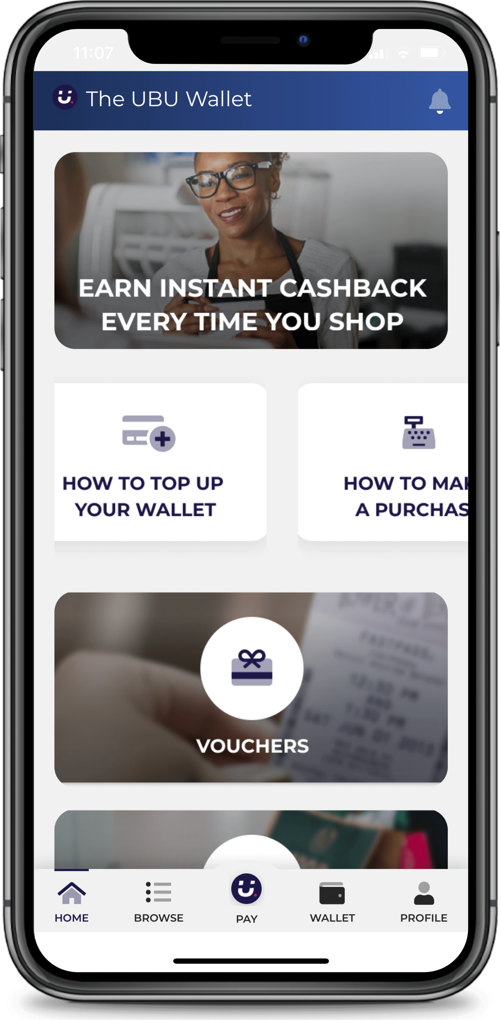 Website UBU for Business wallet page