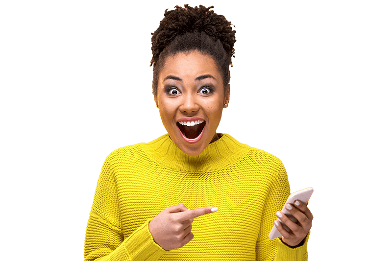 Lady with a suprised expression pointing to her phone