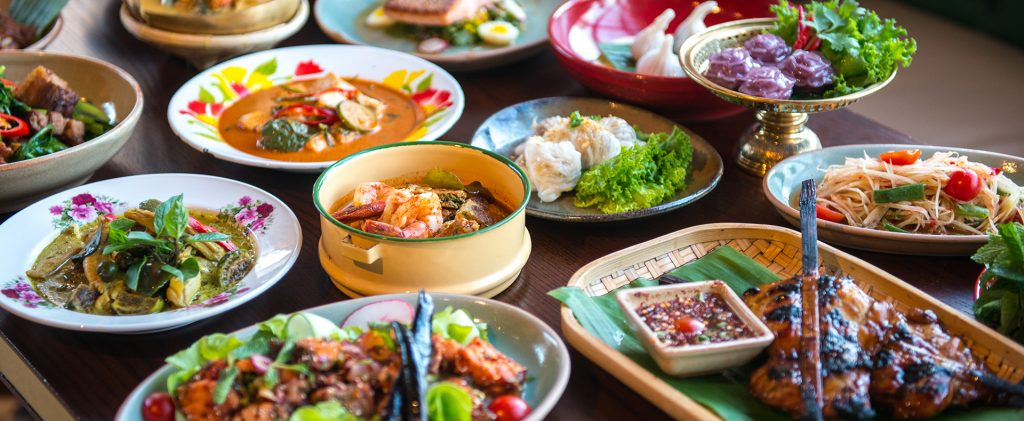 Various Taiwanese Food laid out on a table