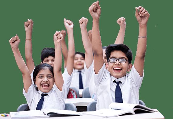 Happy children in class